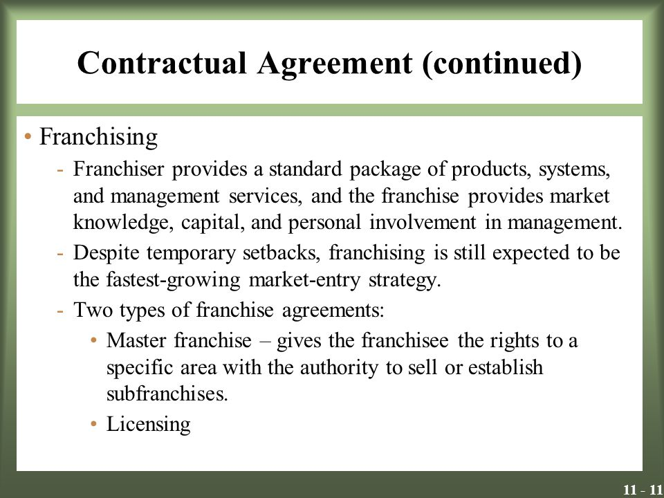 Contractual Agreement (continued)