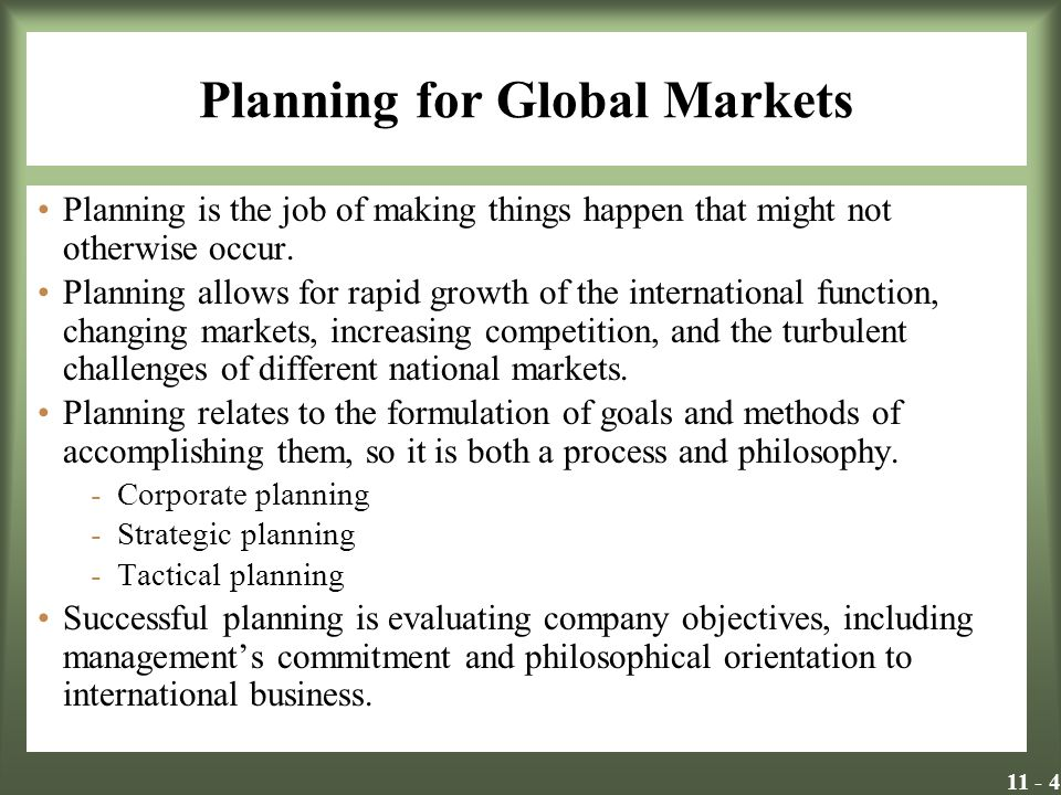 Planning for Global Markets