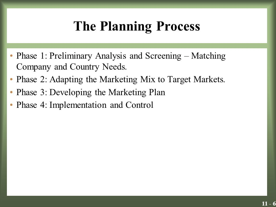 The Planning Process Phase 1: Preliminary Analysis and Screening – Matching Company and Country Needs.