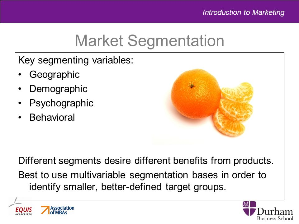 Market Segmentation Key segmenting variables: Geographic Demographic