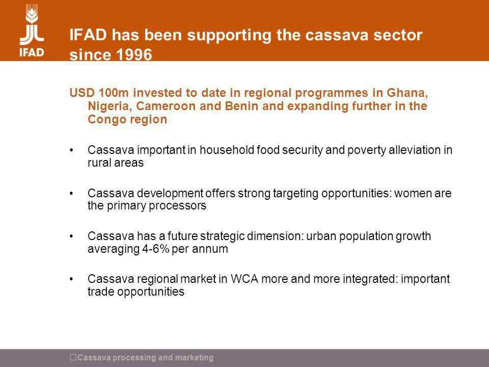 IFAD has been supporting the cassava sector since 1996