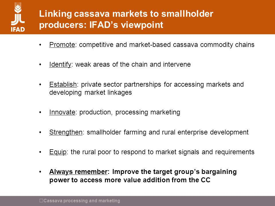 Linking cassava markets to smallholder producers: IFAD's viewpoint