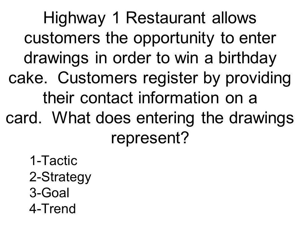 Highway 1 Restaurant allows customers the opportunity to enter drawings in order to win a birthday cake. Customers register by providing their contact information on a card. What does entering the drawings represent