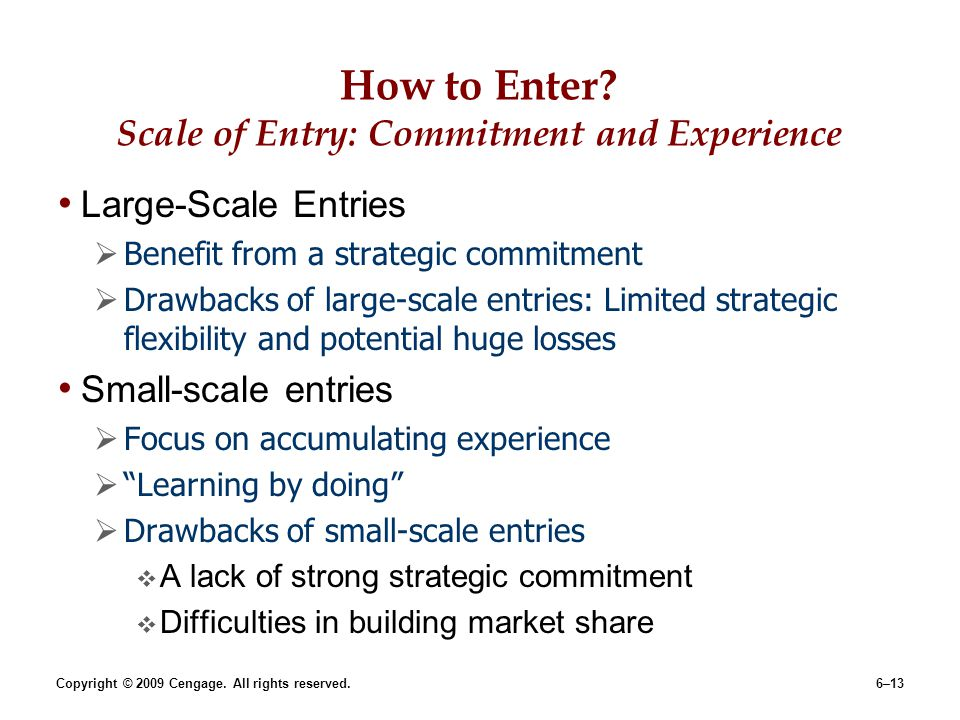 How to Enter Scale of Entry: Commitment and Experience