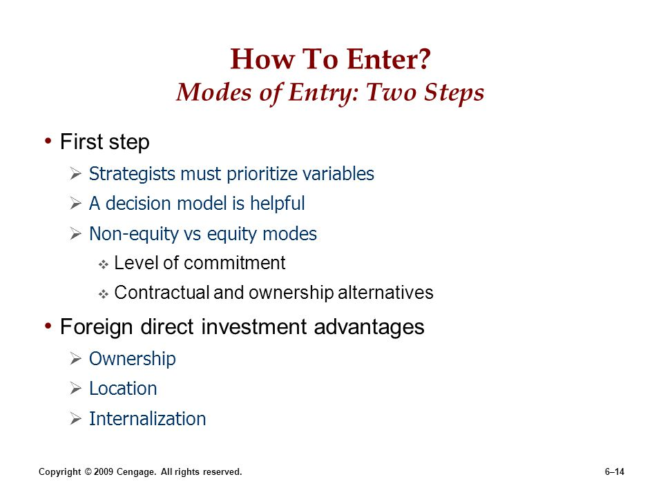 How To Enter Modes of Entry: Two Steps