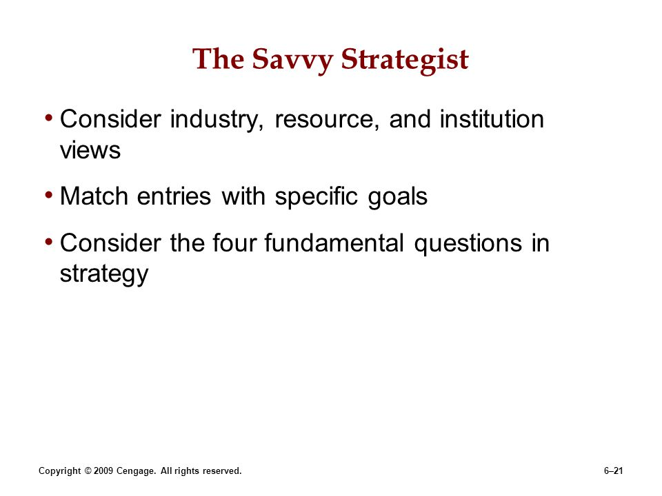 The Savvy Strategist Consider industry, resource, and institution views. Match entries with specific goals.