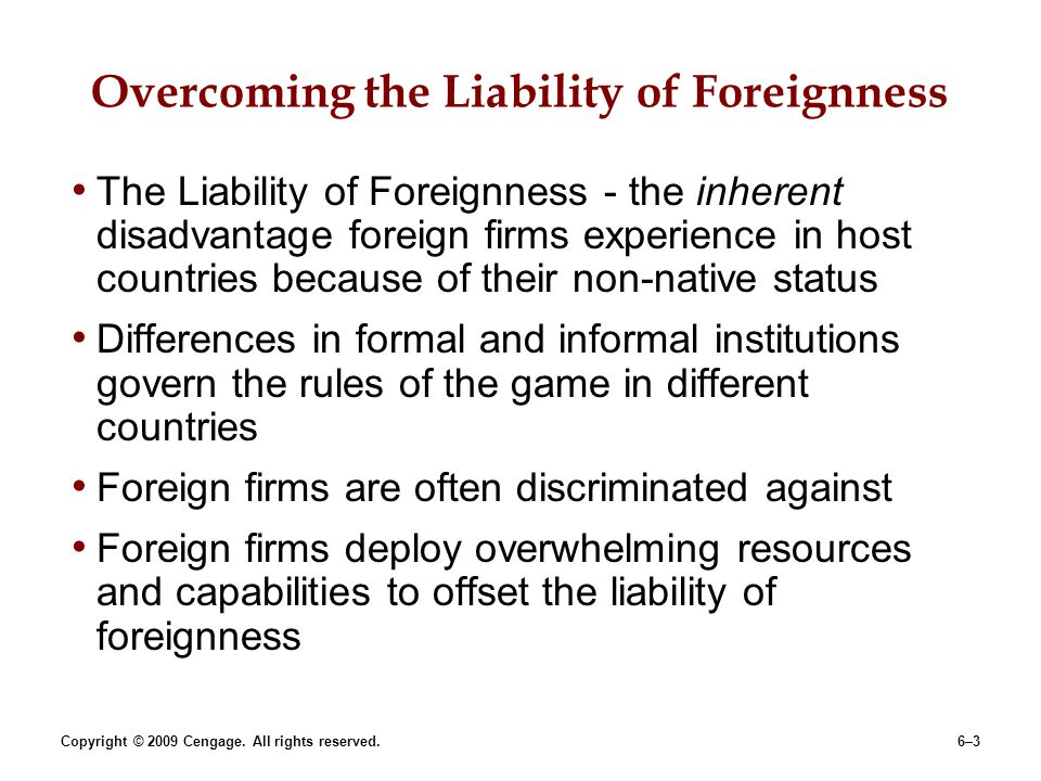 Overcoming the Liability of Foreignness