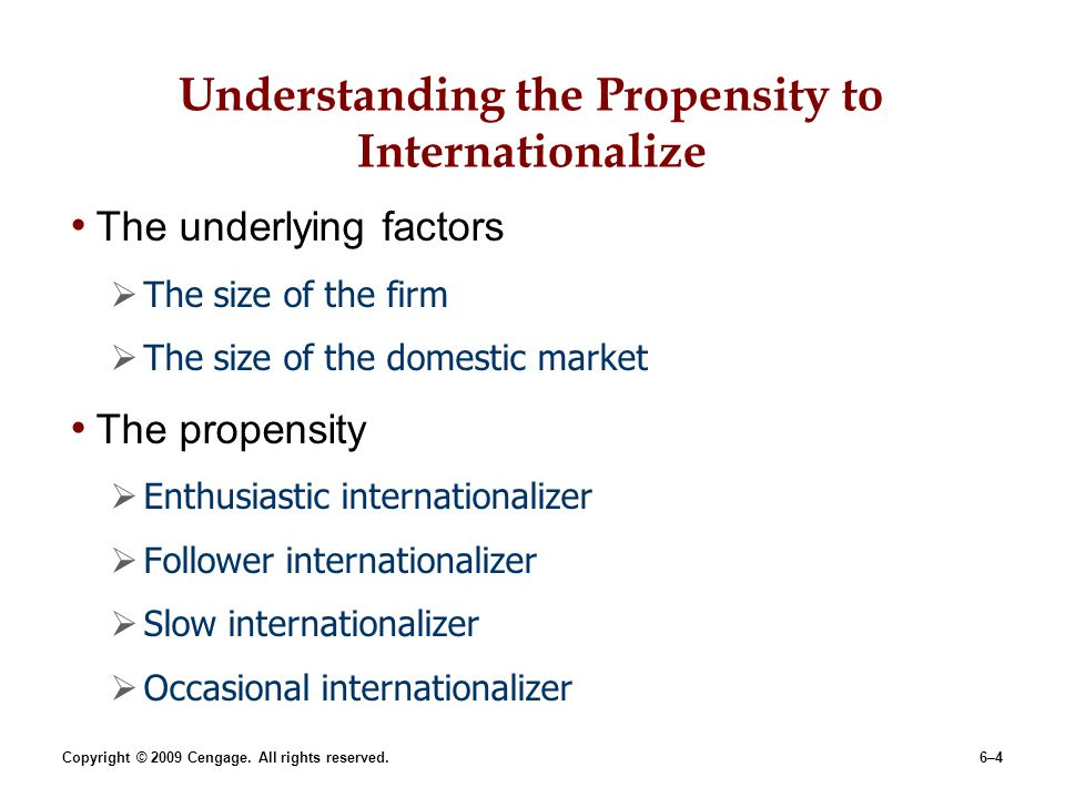 Understanding the Propensity to Internationalize