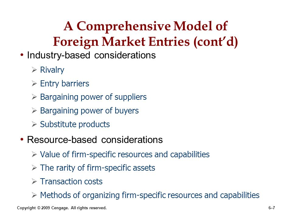 A Comprehensive Model of Foreign Market Entries (cont'd)