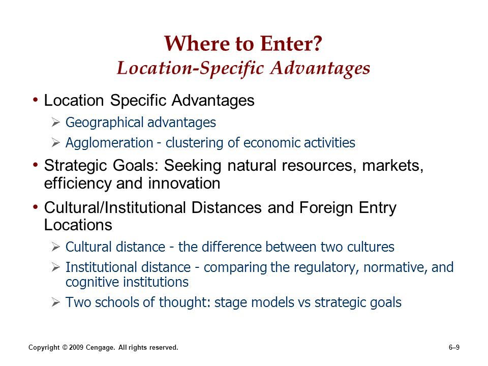 Where to Enter Location-Specific Advantages