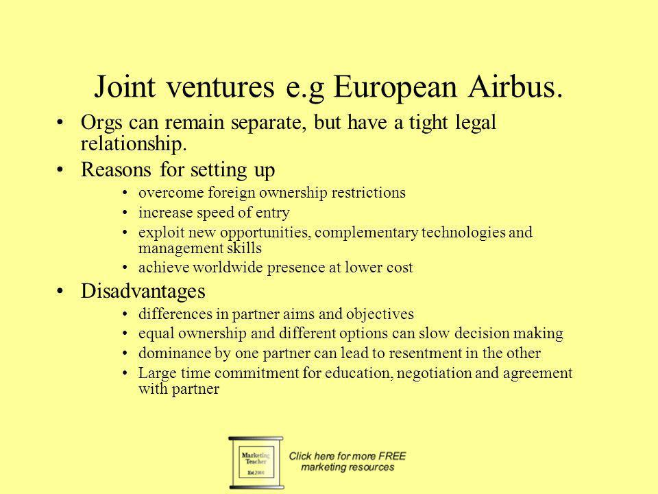 Joint ventures e.g European Airbus.