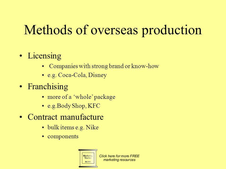 Methods of overseas production