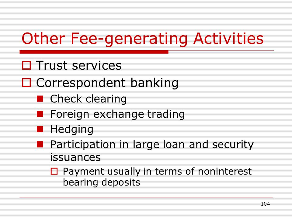Other Fee-generating Activities