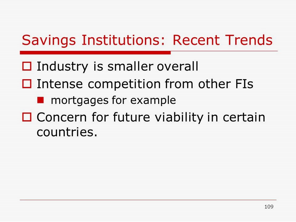Savings Institutions: Recent Trends