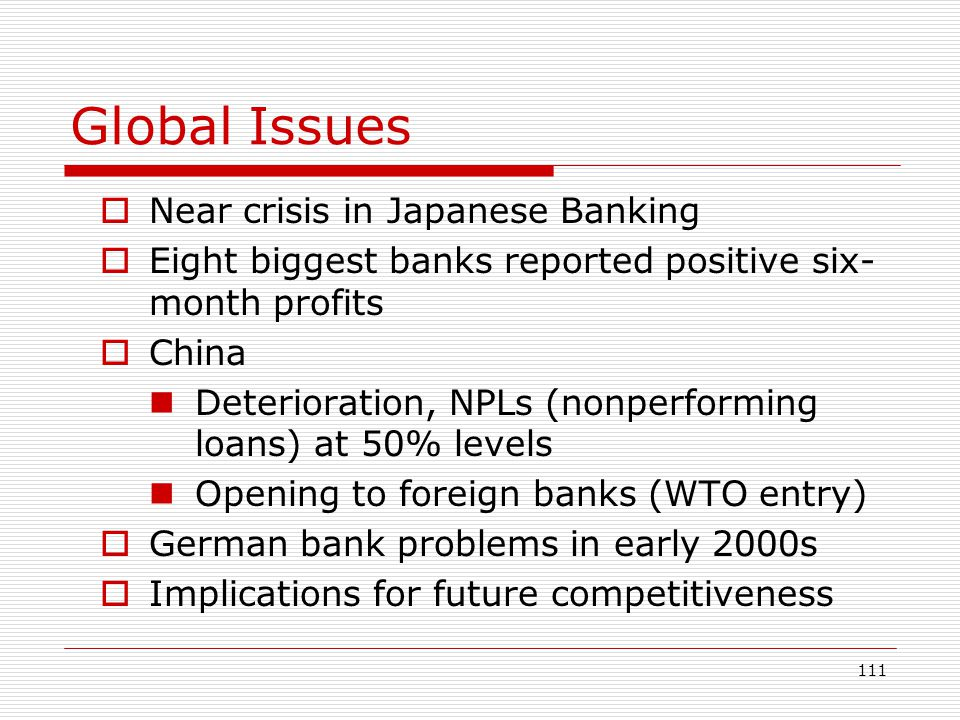 Global Issues Near crisis in Japanese Banking