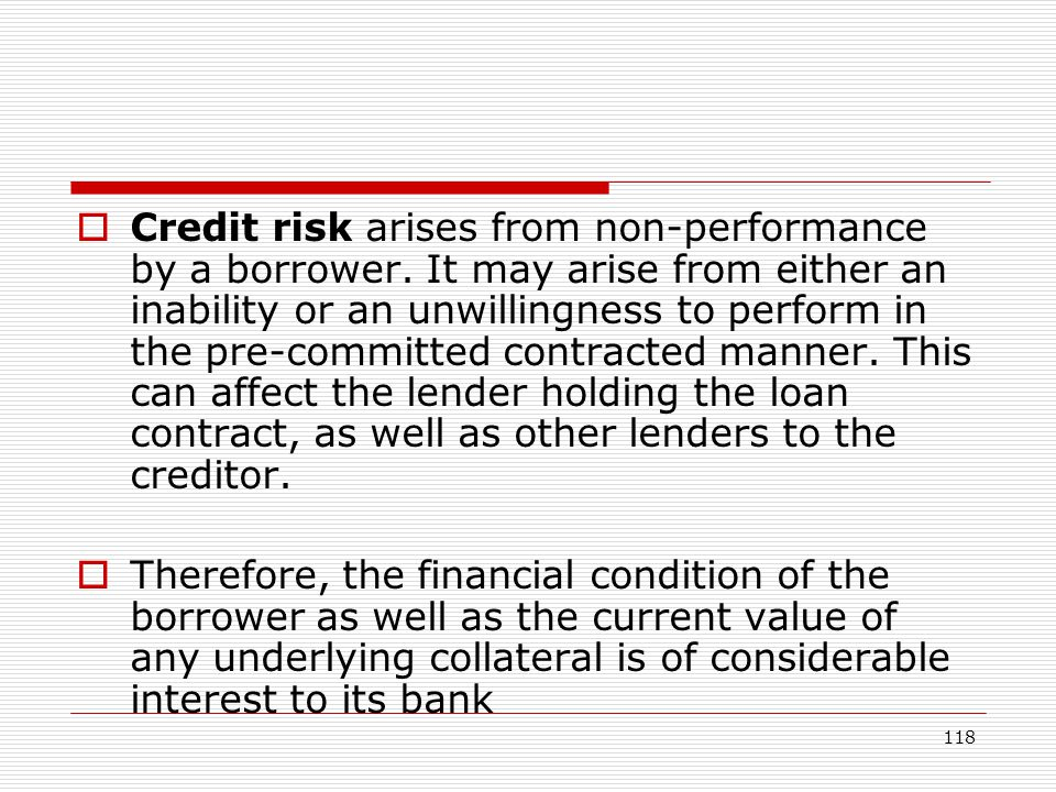 Credit risk arises from non-performance by a borrower