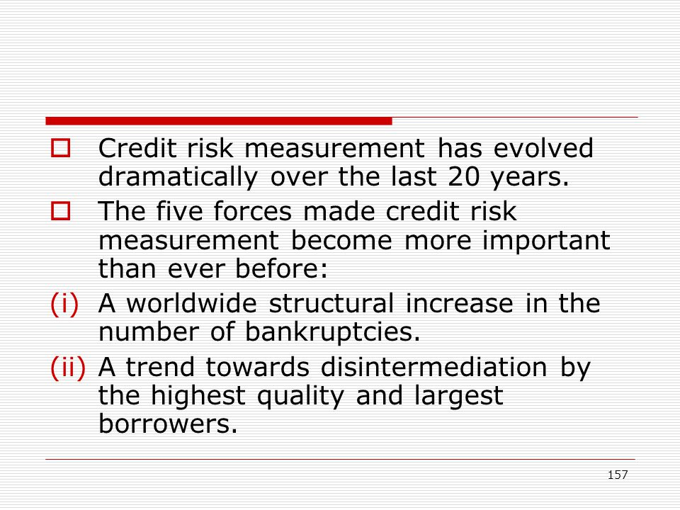 Credit risk measurement has evolved dramatically over the last 20 years.