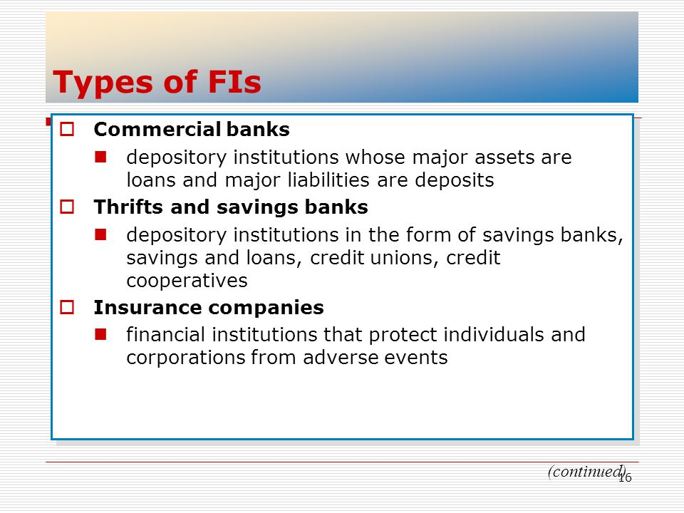 Types of FIs Commercial banks