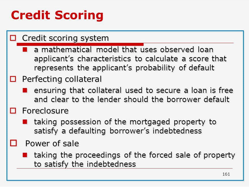 Credit Scoring Power of sale Credit scoring system