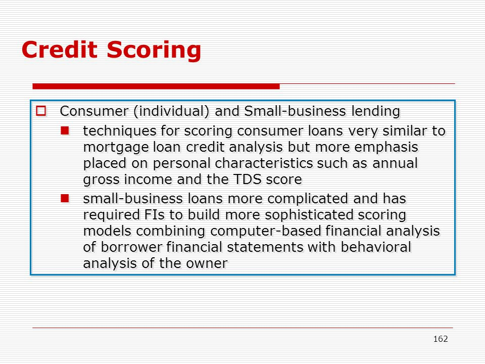 Credit Scoring Consumer (individual) and Small-business lending