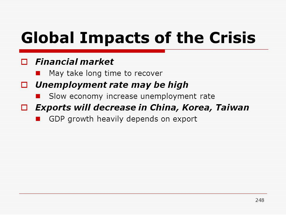 Global Impacts of the Crisis