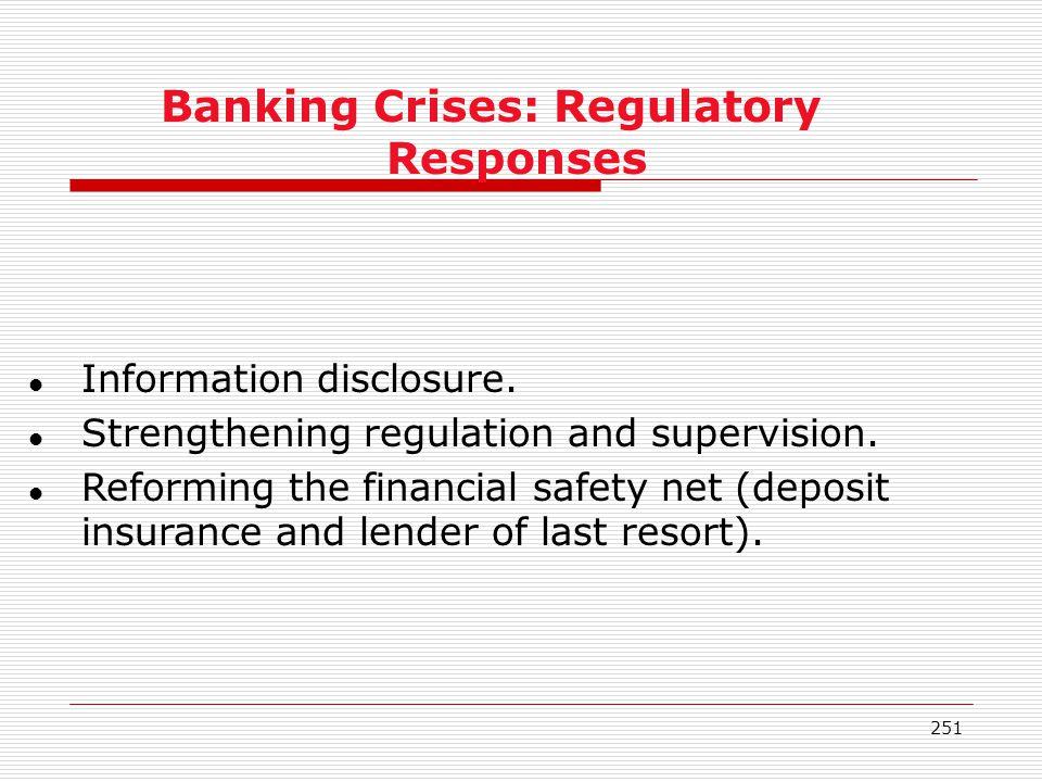 Banking Crises: Regulatory Responses