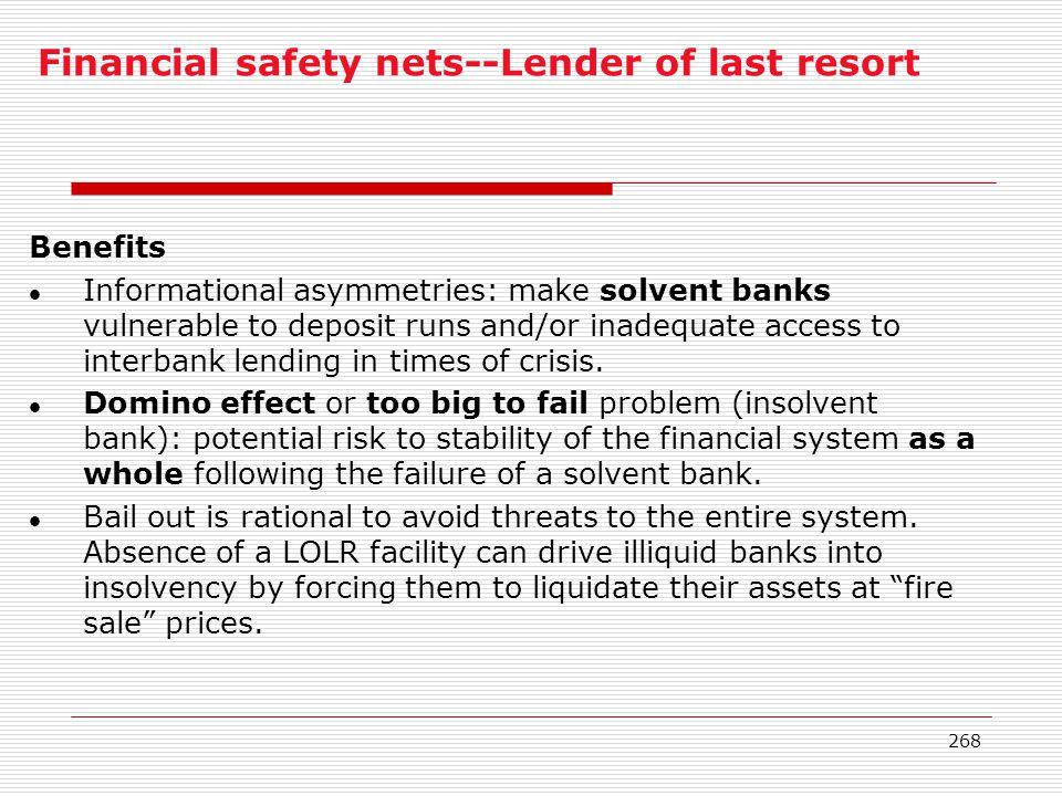 Financial safety nets--Lender of last resort