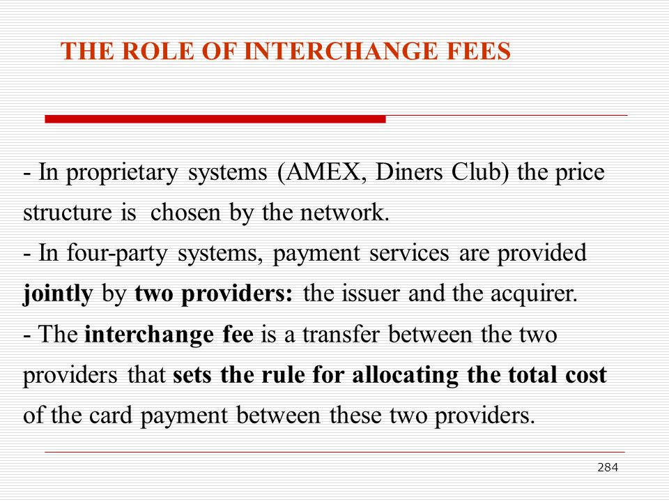 THE ROLE OF INTERCHANGE FEES