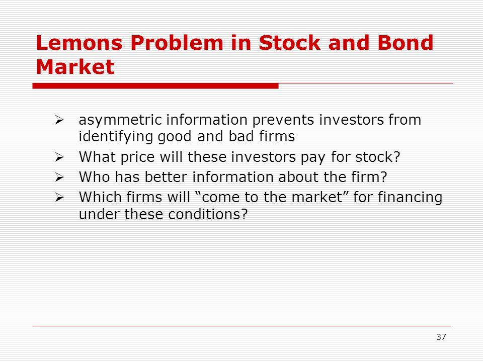 Lemons Problem in Stock and Bond Market