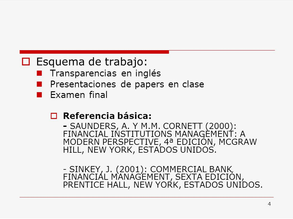 Esquema de trabajo: Transparencias en inglés
