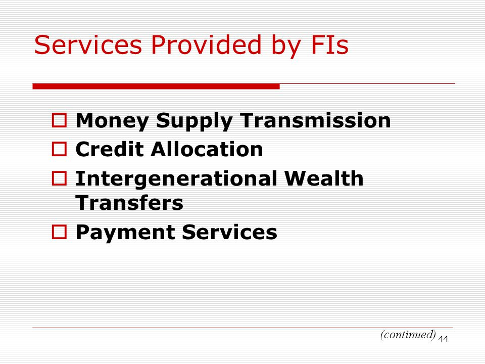 Services Provided by FIs