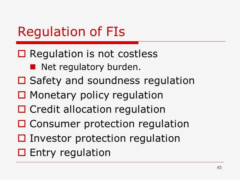 Regulation of FIs Regulation is not costless