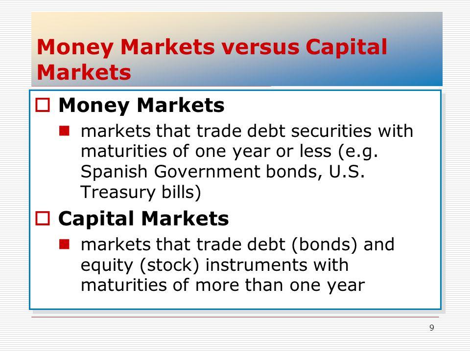 Money Markets versus Capital Markets