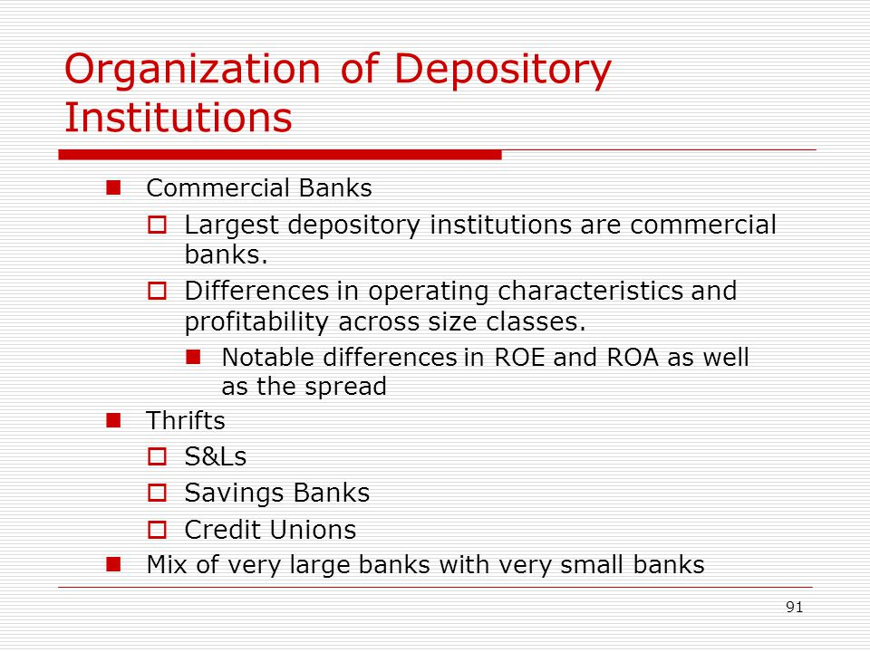Organization of Depository Institutions