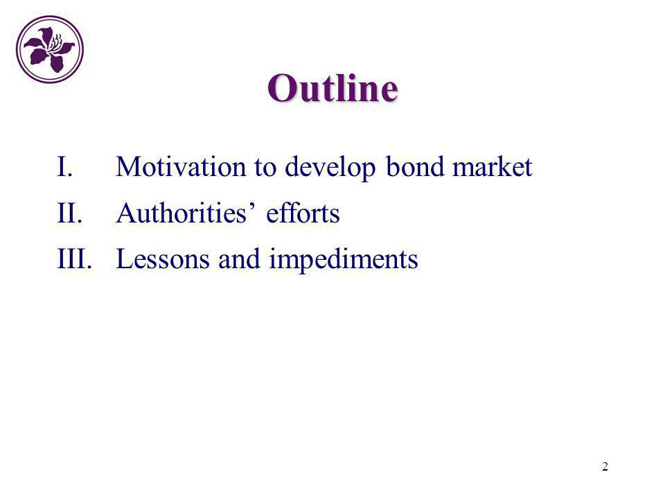 Outline I. Motivation to develop bond market Authorities' efforts