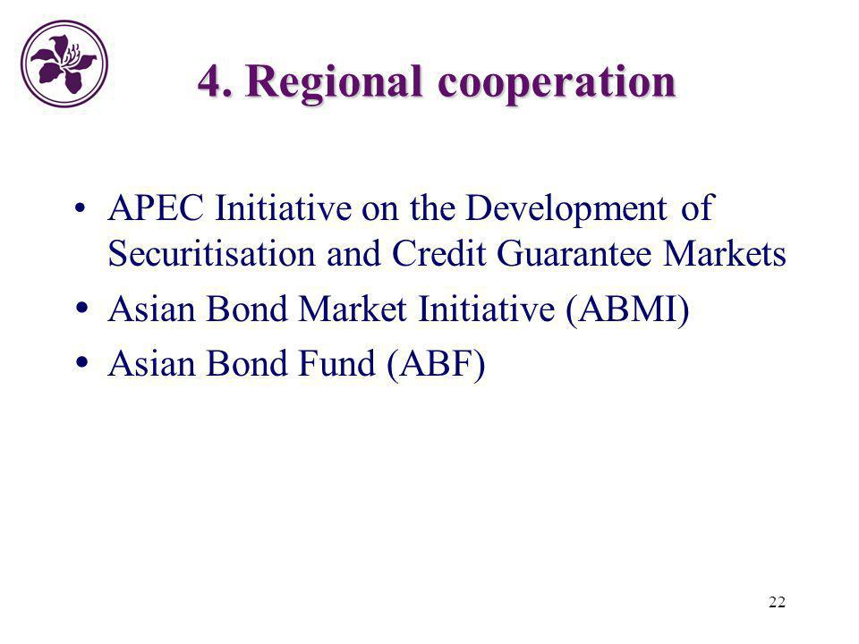 4. Regional cooperation APEC Initiative on the Development of Securitisation and Credit Guarantee Markets.