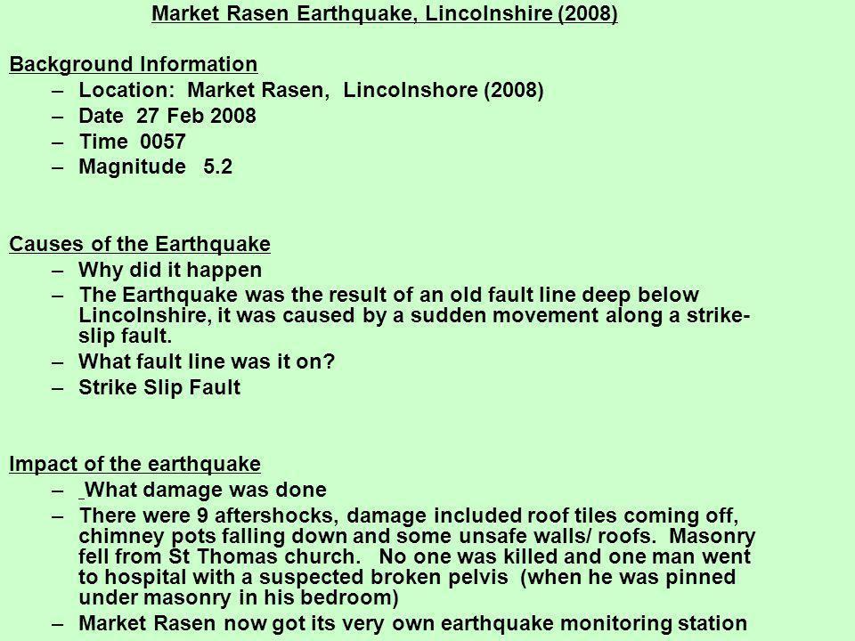 Market Rasen Earthquake, Lincolnshire (2008)