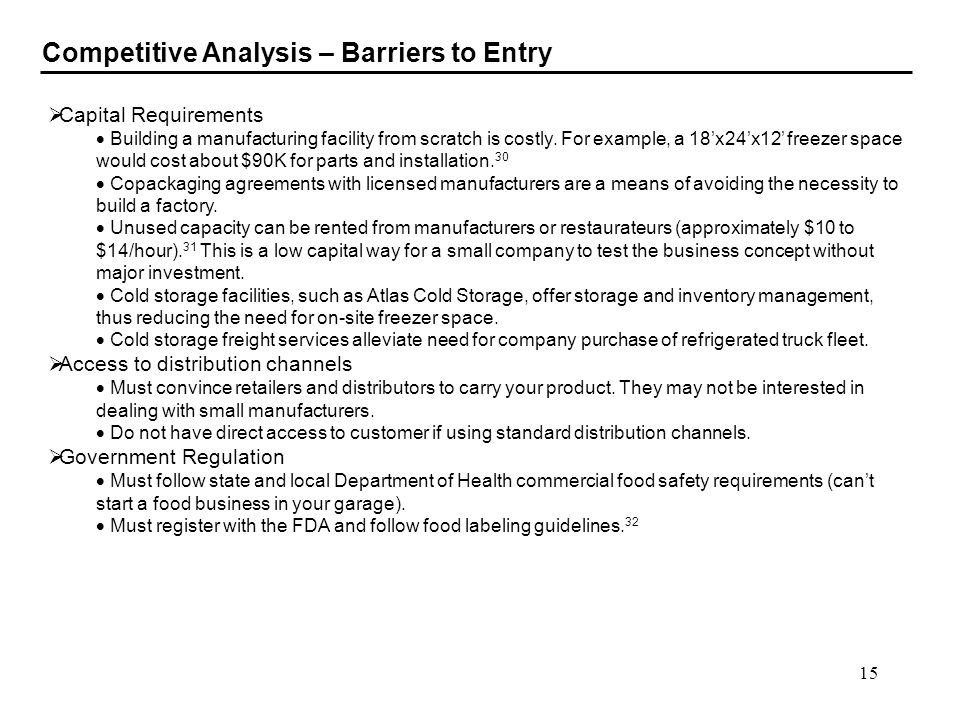 Competitive Analysis – Barriers to Entry