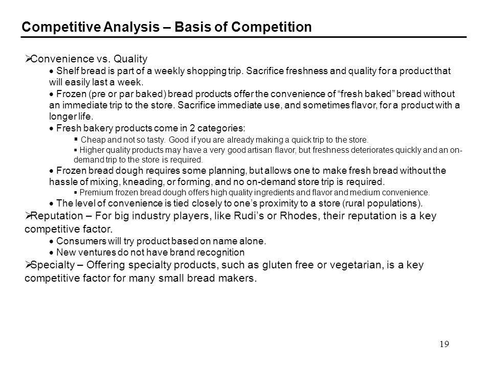 Competitive Analysis – Basis of Competition