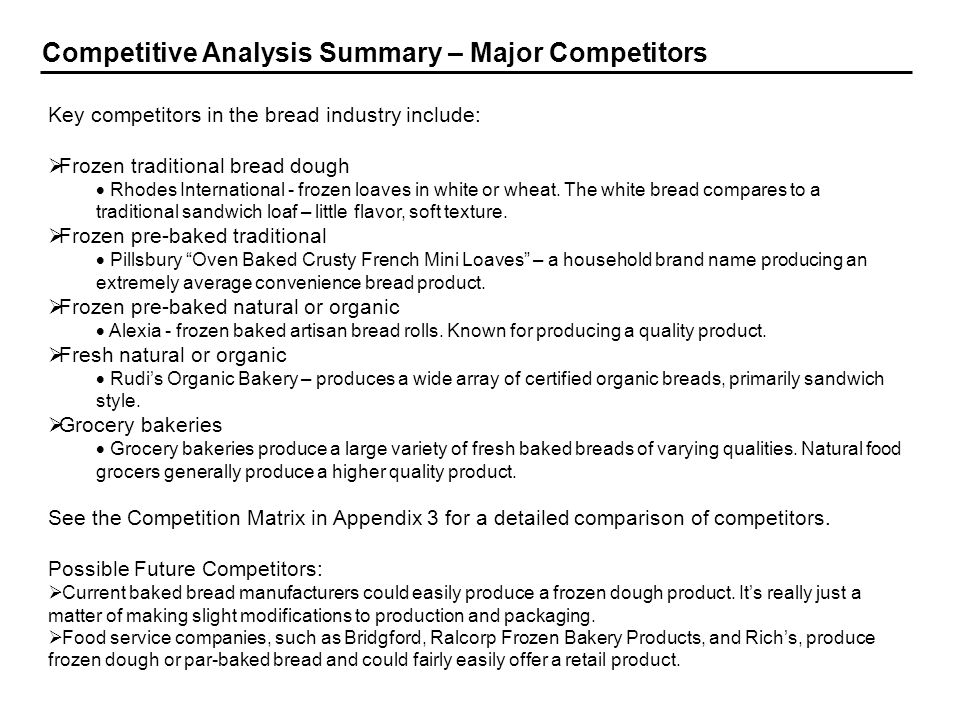 Competitive Analysis Summary – Major Competitors