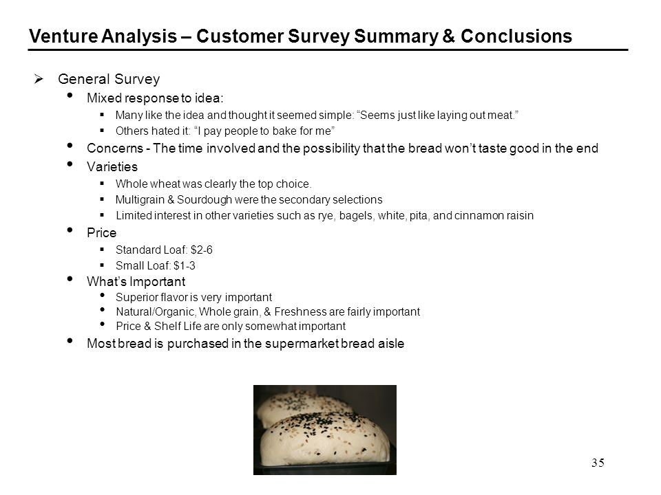 Venture Analysis – Customer Survey Summary & Conclusions