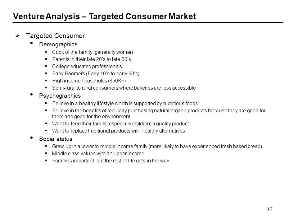 Venture Analysis – Targeted Consumer Market