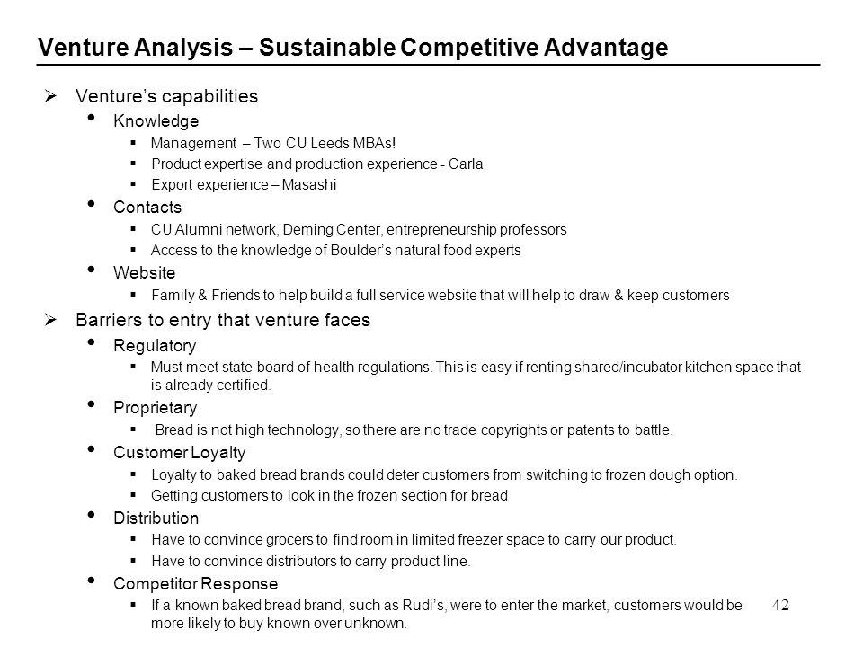 Venture Analysis – Sustainable Competitive Advantage