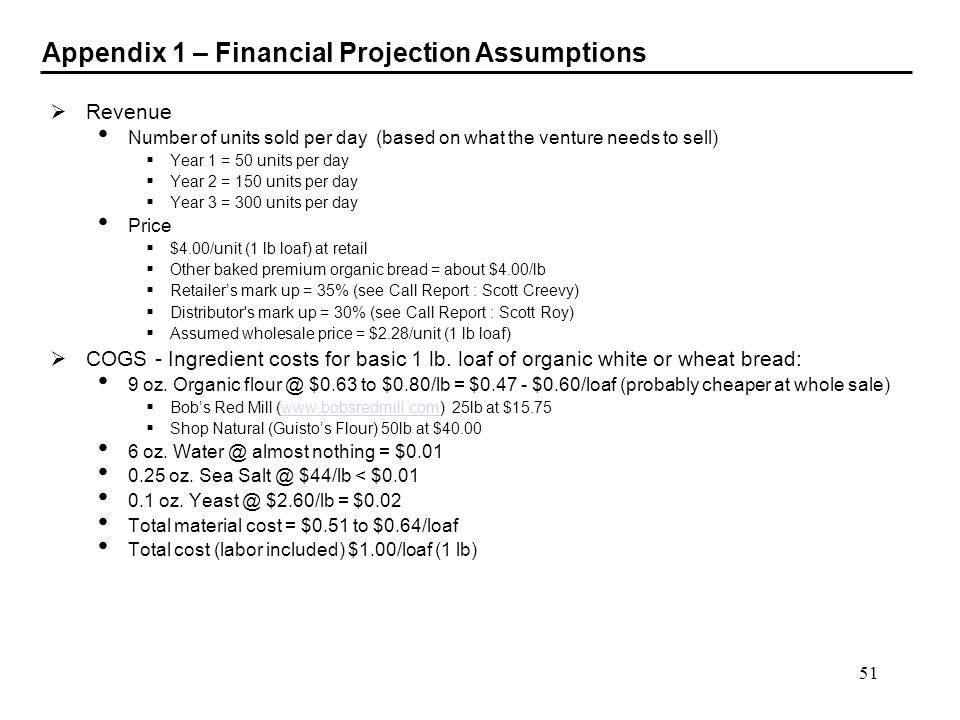 Appendix 1 – Financial Projection Assumptions