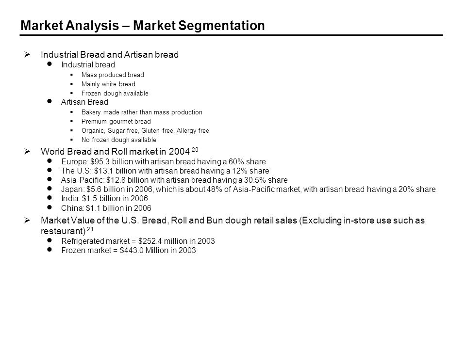 Market Analysis – Market Segmentation