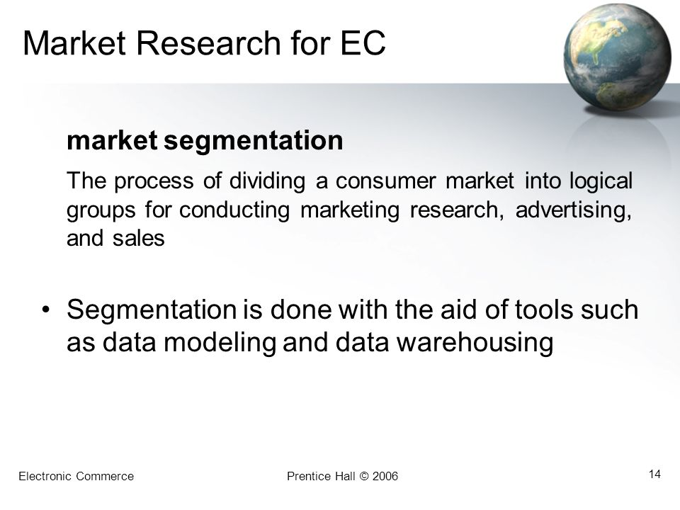 Market Research for EC market segmentation