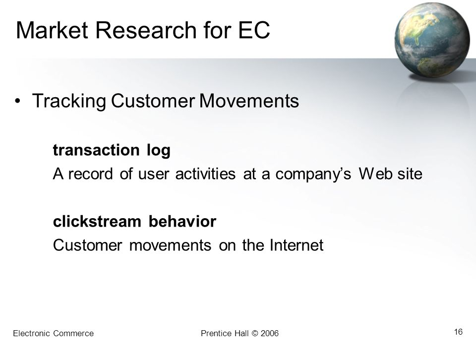 Market Research for EC Tracking Customer Movements transaction log