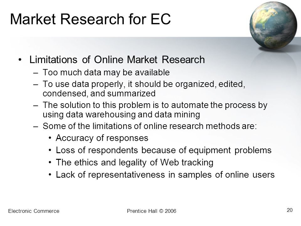 Market Research for EC Limitations of Online Market Research