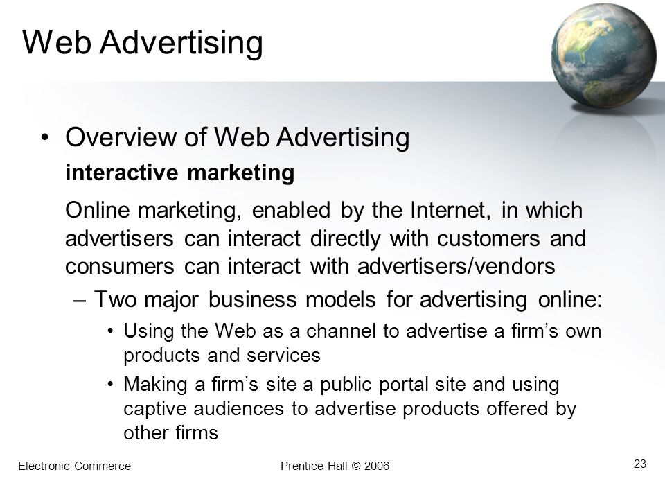 Web Advertising Overview of Web Advertising