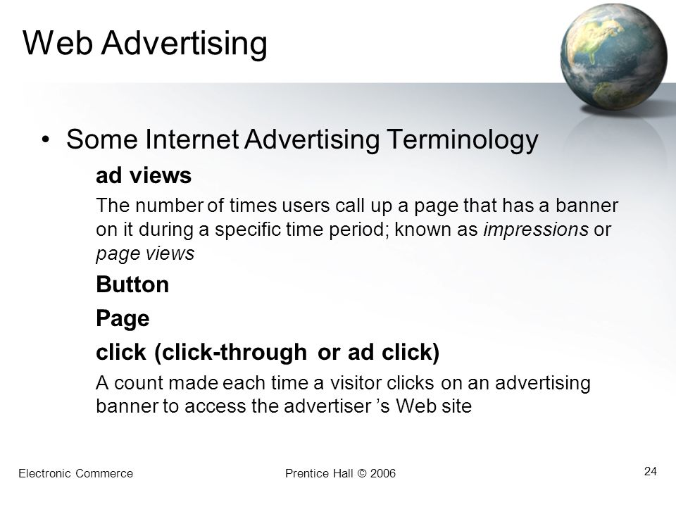 Web Advertising Some Internet Advertising Terminology Page